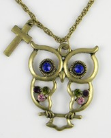 Owl Pendant, Colossians 3:16, Jeweled