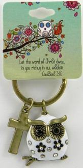 Owl Key Chain, Colossians 3:16, White