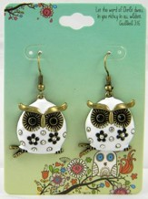 Owl Earrings, Colossians 3:16, White