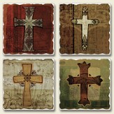 Tumbled Coasters, Crosses, Set of 4