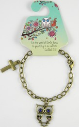 Owl Bracelet, Colossians 3:16, Jeweled