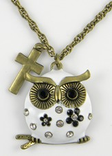 Owl Pendant, Colossians 3:16, White