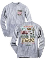 You Are Fearfully and Wonderfully Made, Long Sleeve Shirt, Gray, Large