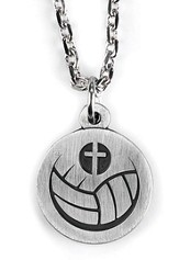 Volleyball and Cross Necklace