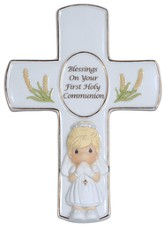 Precious Moments, Blessings On Your First Holy Communion Tabletop Cross, Girl