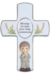 Precious Moments, Blessings On Your First Holy Communion Tabletop Cross, Boy