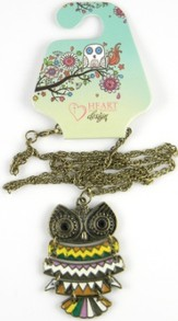 Owl Pendant, Colossians 3:16, Multicolored