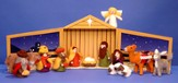 Wool Felt Nativity Set With Wooden Manger/Storage Box