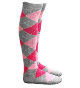 Argyle Knee High Socks, Pink and Gray