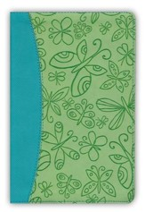 KJV Study Bible for Girls Willow/Turquoise, Butterfly Design Duravella - Imperfectly Imprinted Bibles