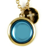 Cross with Blue Stone Necklace