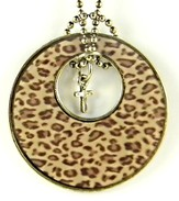 Circle Pendant with Cross, Leopard Print
