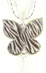 Butterfly Pendant with Cross, Zebra Print