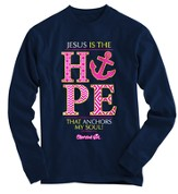 Jesus Is the Hope Anchor, Long Sleeve Shirt, Navy, XX-Large