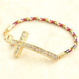 Cross with Stones, Multi Corded Bracelet