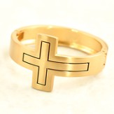 Bangle Bracelet with Black Outlined Cross, Gold