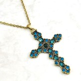 Brass Ornate Cross Necklace, with Emerald Colored Stones