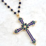 Antique Sapphire Cross Necklace with Sapphire and Emerald Colored Stones