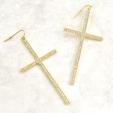 Cross Earrings, with Crystal Stones