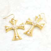 Fancy Cross Pearls Earrings