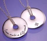 I Can Make A Difference, Sterling Silver Disc Necklace