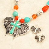 Antique Angel Wings Cross Necklace and Earrings Set
