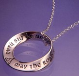 Saint Patrick's Irish Blessing, Sterling Silver Mobius Necklace