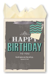 Happy Birthday To You, He Will Rejoice Over Thee With Joy Giftbag, Medium