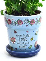 Trust In the Lord Flower Pot, Blue