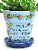 Plant the Seeds Of Hope & Faith Flower Pot, Blue