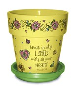 Trust In the Lord Flower Pot, Yellow