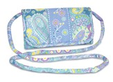 Paisley Quilted Hanging Wallet, Blue