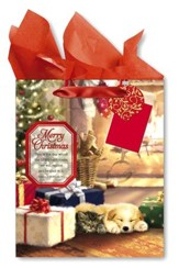 Merry Christmas, Puppy Dog Gift bag, Large