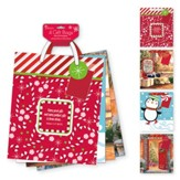 Christmas Gift Bag Assortment, with Candy Cane & Snowflake Design, KJV, Large, 4 pack