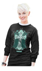 Amazing Grace Cross, Long Sleeve Shirt, Black, X-Large