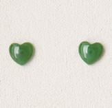 Plain Heart Earrings, Jade