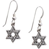 Shield Of David Earrings, Sterling Silver