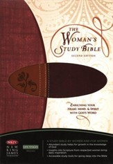 NKJV Woman's Study Bible, Soft Leather-look, Chestnut Brown/Burgundy--Indexed - Slightly Imperfect