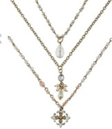 Triple Strand Cross Necklace