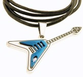 Guitar Necklace, Cross, Blue