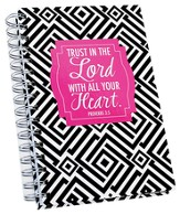 Trust In The Lord Spiral Journal, Pink, Black & White