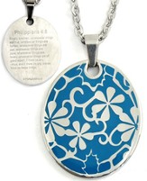 Flowers Pendant, Blue, Phil. 4:8