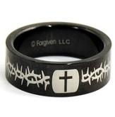 Cross and Thorns Ring, Black, Size 10