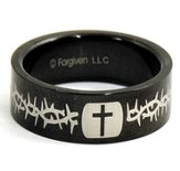 Cross and Thorns Ring, Black, Size 12