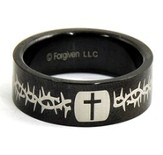 Cross and Thorns Ring, Black, Size 13