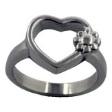 Open Heart with Flowers Ring, Size 7