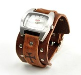 Adjustable Watch, Cross, Brown