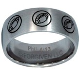 I Can Do All Things, Football Ring, Silver, Size 8