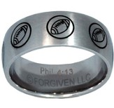 I Can Do All Things, Football Ring, Silver, Size 12
