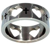 Crosses and Hearts Ring, Silver, Size 8